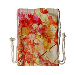 Monotype Art Pattern Leaves Colored Autumn Drawstring Bag (small)