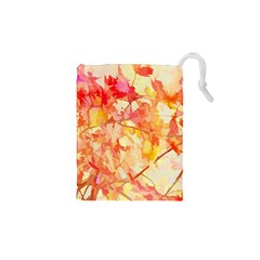 Monotype Art Pattern Leaves Colored Autumn Drawstring Pouches (xs)