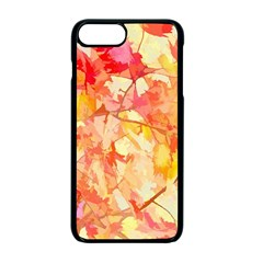 Monotype Art Pattern Leaves Colored Autumn Apple Iphone 7 Plus Seamless Case (black)