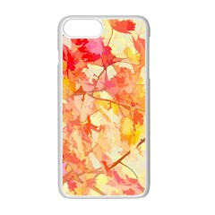 Monotype Art Pattern Leaves Colored Autumn Apple Iphone 7 Plus White Seamless Case