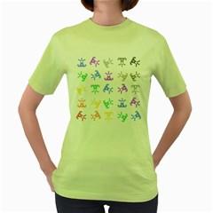 Rainbow Clown Pattern Women s Green T Shirt