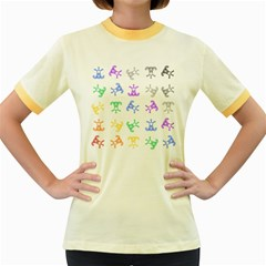 Rainbow Clown Pattern Women s Fitted Ringer T Shirts