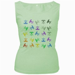 Rainbow Clown Pattern Women s Green Tank Top