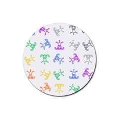 Rainbow Clown Pattern Rubber Coaster (round)