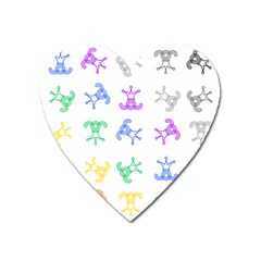 Rainbow Clown Pattern Heart Magnet