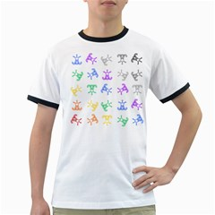 Rainbow Clown Pattern Ringer T Shirts