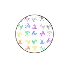 Rainbow Clown Pattern Hat Clip Ball Marker (4 Pack)