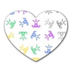 Rainbow Clown Pattern Heart Mousepads