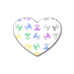 Rainbow Clown Pattern Rubber Coaster (heart)