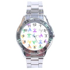 Rainbow Clown Pattern Stainless Steel Analogue Watch