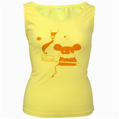 Brushing Teeth Mouse Orange Women s Yellow Tank Top
