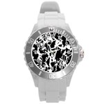 Dancing Yoga Round Plastic Sport Watch (L) Front