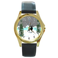 Rocky Mountain High Colorado Round Gold Metal Watch