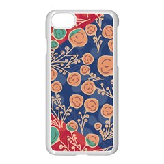 Floral Red Blue Flower Apple Iphone 7 Seamless Case (white)
