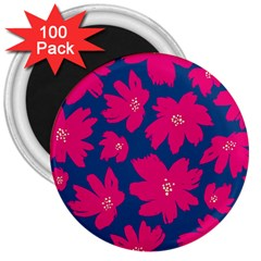 Flower Red Blue 3  Magnets (100 Pack)