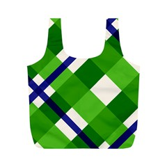 Green Plaid Full Print Recycle Bags (m)