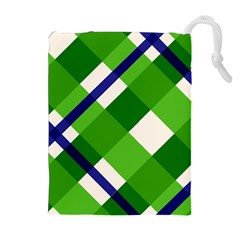 Green Plaid Drawstring Pouches (extra Large)