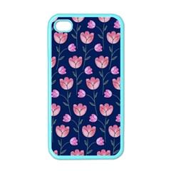 Flower Tulip Floral Pink Blue Apple Iphone 4 Case (color)