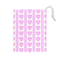 Heart Pink Valentine Day Drawstring Pouches (large)