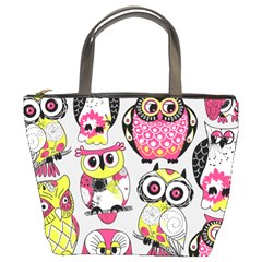 Illustration Seamless Colourful Owl Pattern Bucket Bags