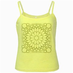 Roses Stained Glass Yellow Spaghetti Tank