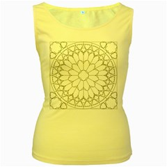 Roses Stained Glass Women s Yellow Tank Top