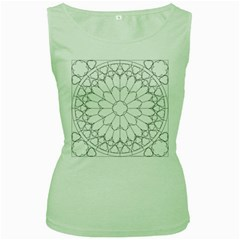 Roses Stained Glass Women s Green Tank Top
