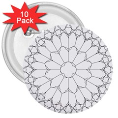 Roses Stained Glass 3  Buttons (10 Pack)
