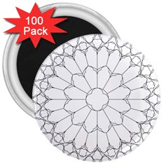 Roses Stained Glass 3  Magnets (100 Pack)