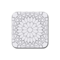 Roses Stained Glass Rubber Square Coaster (4 Pack)