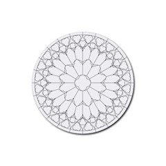 Roses Stained Glass Rubber Round Coaster (4 Pack)