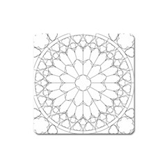 Roses Stained Glass Square Magnet