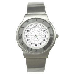 Roses Stained Glass Stainless Steel Watch