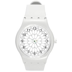 Roses Stained Glass Round Plastic Sport Watch (m)