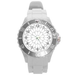 Roses Stained Glass Round Plastic Sport Watch (l)