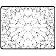 Roses Stained Glass Double Sided Fleece Blanket (medium)