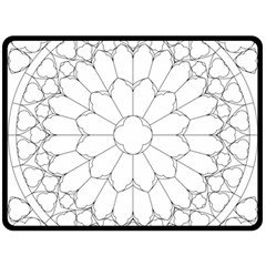Roses Stained Glass Double Sided Fleece Blanket (large)