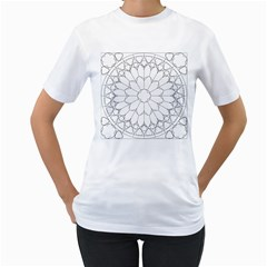 Roses Stained Glass Women s T Shirt (white)
