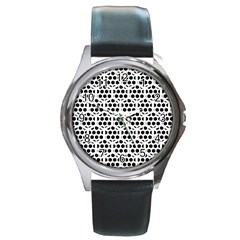 Seamless Honeycomb Pattern Round Metal Watch