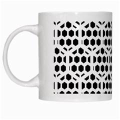 Seamless Honeycomb Pattern White Mugs