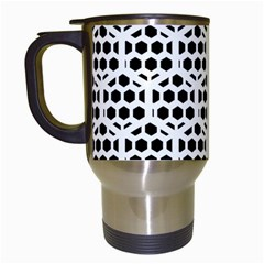 Seamless Honeycomb Pattern Travel Mugs (white)