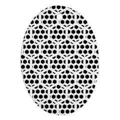 Seamless Honeycomb Pattern Oval Ornament (two Sides)