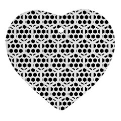 Seamless Honeycomb Pattern Heart Ornament (2 Sides)