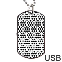 Seamless Honeycomb Pattern Dog Tag Usb Flash (two Sides)