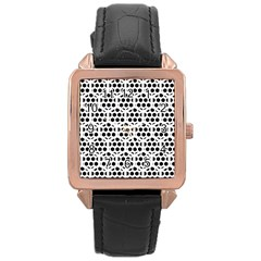 Seamless Honeycomb Pattern Rose Gold Leather Watch