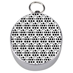 Seamless Honeycomb Pattern Silver Compasses