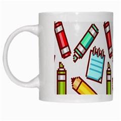 Seamless Pixel Art Pattern White Mugs