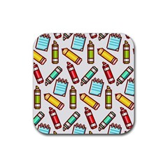 Seamless Pixel Art Pattern Rubber Coaster (square)
