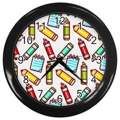 Seamless Pixel Art Pattern Wall Clocks (black)