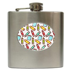 Seamless Pixel Art Pattern Hip Flask (6 Oz)